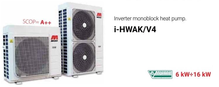 Šilumos siurbliai oras – vanduo, monoblokas MAXA I-HWAK/V4/KA